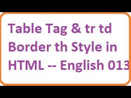 table tag and tr td border th style in html english vlr training