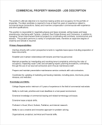 commercial property manager job description real estate property manager job description