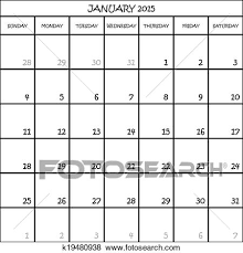Clip Art Of January 2015 Calendar Planner Month On Transparent