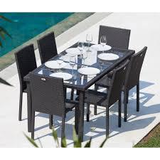 table jardin. 249.99 \u20ac ❤ top #soldes #arcachon ensemble #table de #jardin 6 places acier et résine tressée - noir table jardin e