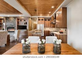 Wood ceiling kitchen Kitchen Island Beautiful Home Interior With Open Floor Plan Includes Dining Room Kitchen And Living Shutterstock Wood Ceiling Images Stock Photos Vectors Shutterstock