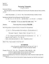 Ac Method Factoring Trinomials Ac Method