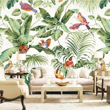 flower wallpaper for house. free shipping 3d stereo tropical garden flower bird painting style wallpaper bedroom tv background personality for house 2