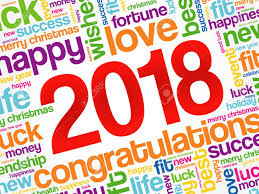 2018 Year Greeting Word Cloud Collage Happy New Year Celebration