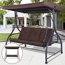 furniture deck. costway converting outdoor swing canopy hammock 3 seats patio deck furniture brown c