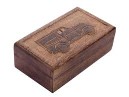 cute carved truck wooden trinket box