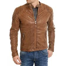 men s waxed leather quilted shoulders brown motorcycle jacket