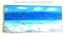 ocean wall art beach themed canvas artwork framed prints 3 panel blue sea waves painting the beach wall art theme  on wooden beach themed wall art with wall decor beach theme anchor print wood rustic art nautical ocean