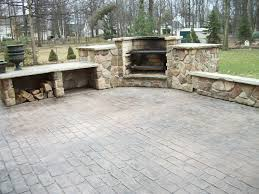 stamped concrete patio with fireplace. Cobblestone Stamped Concrete Patio With Outdoor Cooking Fireplace E