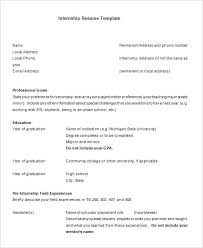 Resume Templates In Word Format High School Internship Resume