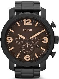men s fossil nate chronograph brown watch jr1356