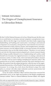 the origins of unemployment insurance in edwardian britain  notes