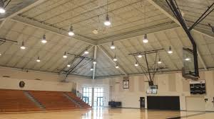 the gymnasium after installation 400w metal halide fixtures were replaced with 240w leds over