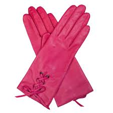 fuchsia pink leather gloves with lace up detail