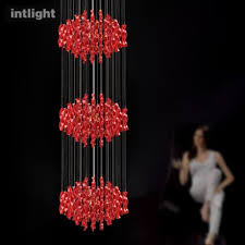 get ations european luxury chandelier long double staircase chandelier modern creative personality living room lights round three red