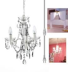 3 light mini crystal chandelier white metal frame with clear acrylic crystals