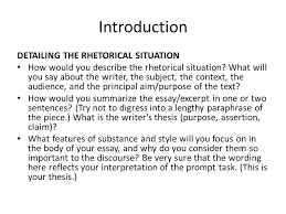 rhetorical analysis sourced from sfcss ppt  introduction detailing the rhetorical situation