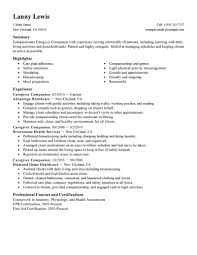 Resume Template For Caregiver Position Best Caregivers Companions Resume Example LiveCareer 4