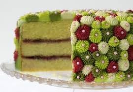 Avocado Cake with Raspberry Filling & Key Lime Frosting