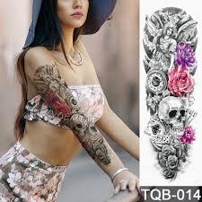 Nové 4817cm Plné Květina Paži Tetování Samolepky Anděl ďábel Růže