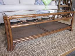 rectangle brown rattan coffee table with glass top and four legs l wicker writehookstudio large round