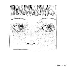 Hand Drawn Face Sketch Cute Girl Avatar Pattern For Coloring