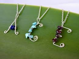 kids personalised customised letter necklace in eco sterling silver with semi precious stones felt