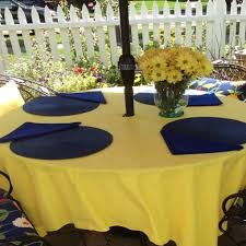 umbrella hole patio tablecloth 84 round easycare fabric polyester 74 colors 1 of 3 see more