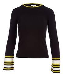 Black And Yellow Stripes Border Jenn Black Yellow Stripe Border Bell Sleeve Top Women Zulily
