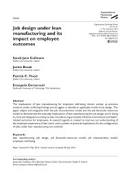 Models Of Job Design Pdf Job Design Under Lean Manufacturing And Its Impact On