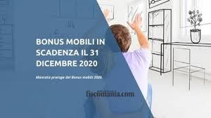 Bonus mobili in scadenza il 31 dicembre 2020 - Fiscomania