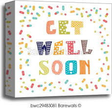 Get Well Soon Poster Get Well Soon Card With Pills Greeting Card Canvas Print