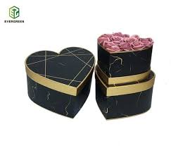 Paper Flower Suppliers China Customized Marble Print Heart Shape Paper Flower Box