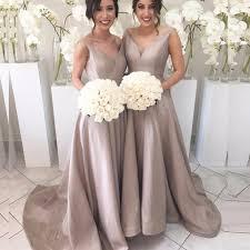 a line v neck sweep train pleated silver taffeta bridesmaid dress