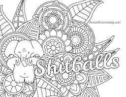 Coloring Page For Adults Free Printable Shitballs Swear Word