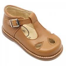 tan leather t bar shoes for children