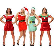 LADIES CHRISTMAS DRESSES MRS SANTA CLAUS ELF LITTLE HELPERS CLAUS FANCY  DRESS