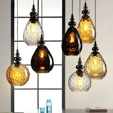 glass pendant light art shades lamp coloured ceiling ball smoked amber clear vintage loft lamps bar