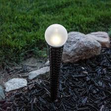 Solar Orb Light With Wicker Garden Stake Set Of 2