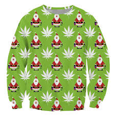 Santa Claus Cannabis Gift Green Sweatshirt