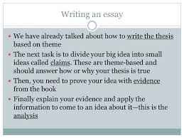 "quote analysis "" "" review the format of an essay intro paragraph  writing an essay we have already talked about how to write the thesis based on theme"