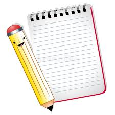 happy cartoon pencil notepad stock ilration ilration of ilrated cartoonish 10795254