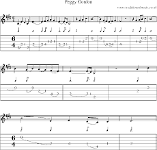 Guitar Tab and sheet music for Peggy Gordon