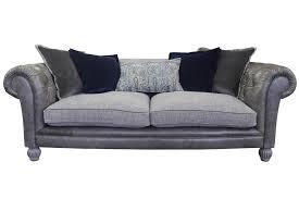 tetrad westchester classic grey leather fabric sofa
