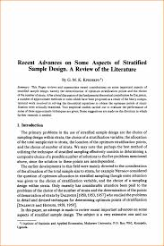 literature review sample png questionnaire template some aspects of stratified sample design a review of the literature