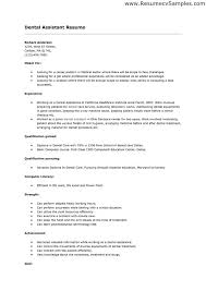 Dentist Resume Samples Dental Assistant Resume Objectives Under Fontanacountryinn Com