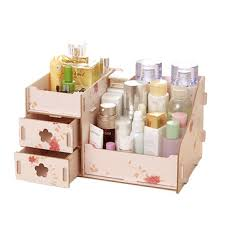 assembly <b>wooden makeup organizer box</b> drawer cosmetics storage ...