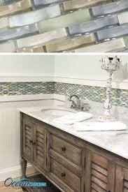 bathroom backsplash tiles. Our Client Used This Backsplash Tile As A Chair Rail Border | Ripple Spring Melt Mosaic Bathroom Tiles L