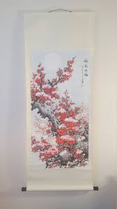 Vintage Asian Wall Decor 2 Asain Wall Hangings Asian Nature Scene Cherry  Blossom Print Fabric Wall Hanging Vintage Home Decor Asian Art