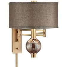 richford polished brass plug in swing arm wall lamp 165 cad liked on polyvore featuring home lighting wall lights brown swing arm lamp